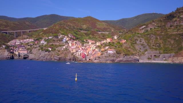 Aerial travel view of Riomaggiore, Cinque Terre, Italy.