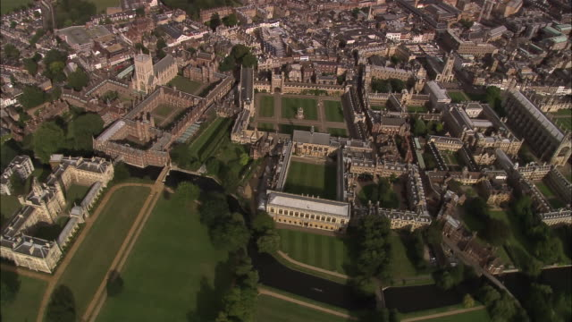 aerial trinity college at cambridge university / cambridge, england - trinity college cambridge university stock videos & royalty-free footage
