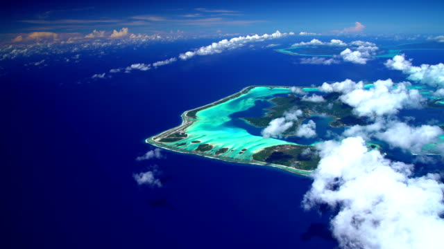aerial tropical view of french polynesia vacation islands - tahaa island stock videos & royalty-free footage