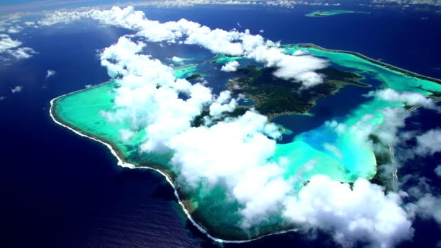 Aerial tropical view of Tupai and Bora Bora