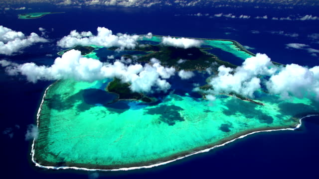 aerial tropical view of tupai heart island paradise - bora bora aerial stock videos and b-roll footage