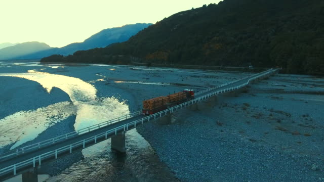aerial truck car over the bridge - new zealand stock videos & royalty-free footage
