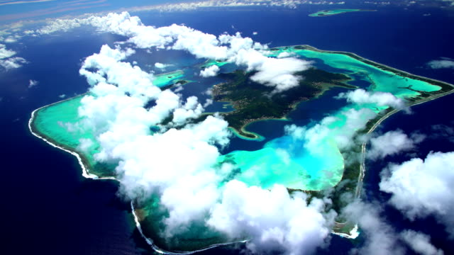 aerial tupai and bora bora island south pacific - bora bora aerial stock videos and b-roll footage