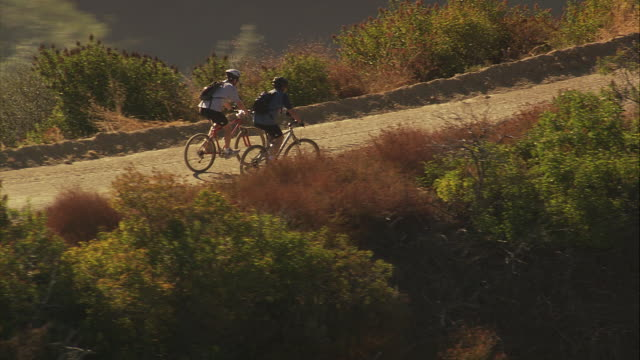 aerial ts la two cyclists riding on mountain bikes in topanga state forest / los angeles, california, unietd states. - mountain bike stock videos & royalty-free footage