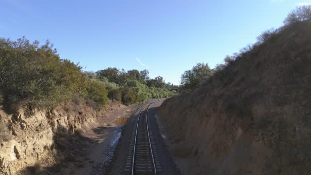 Aerial UHD view over railroad tracks in California