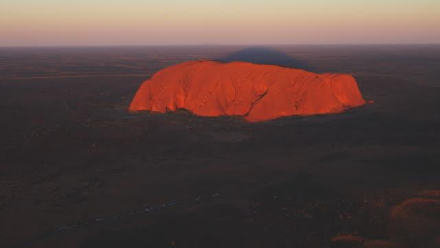 Aerial WS of Uluru at sunrise