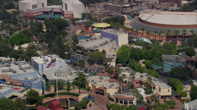 aerial ms ts universal studios theme park / hollywood, california, united states - universal city stock videos & royalty-free footage