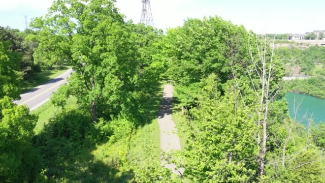 a2-4 aerial upper whirlpool trails and niagara river view, niagara falls, ontario, canada - niagara falls city new york state stock videos & royalty-free footage