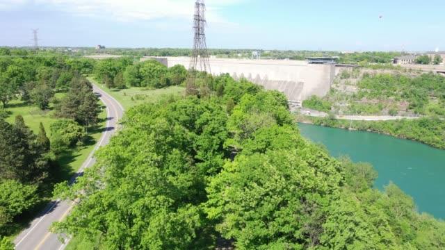 a3-4 aerial upper whirlpool trails and niagara river view, niagara falls, ontario, canada - niagara falls city new york state stock videos & royalty-free footage