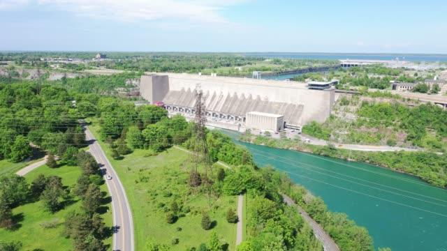 a4-4 aerial upper whirlpool trails and niagara river view, niagara falls, ontario, canada - niagara falls city new york state stock videos & royalty-free footage