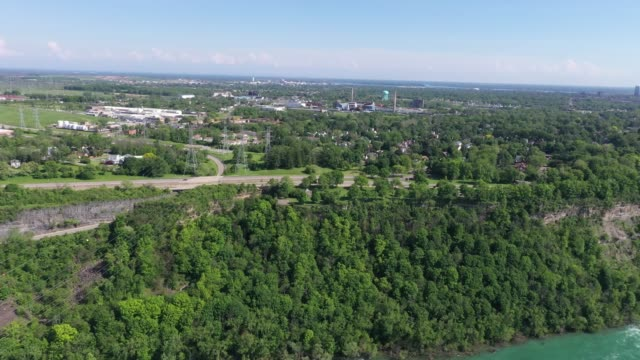 b4-5 aerial upper whirlpool trails and niagara river view, niagara falls, ontario, canada - niagara falls city new york state stock videos & royalty-free footage