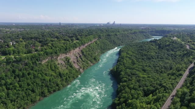 b5-5 aerial upper whirlpool trails and niagara river view, niagara falls, ontario, canada - niagara falls city new york state stock videos & royalty-free footage