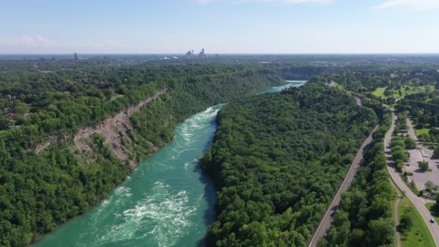 c1-9 aerial upper whirlpool trails and niagara river view, niagara falls, ontario, canada - niagara falls city new york state stock videos & royalty-free footage