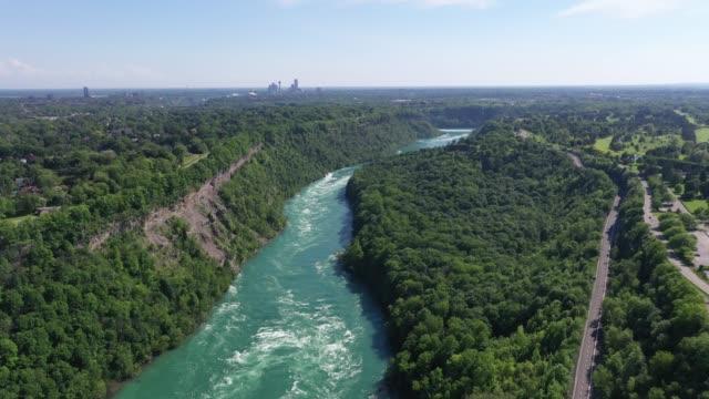 c2-9 aerial upper whirlpool trails and niagara river view, niagara falls, ontario, canada - niagara falls city new york state stock videos & royalty-free footage