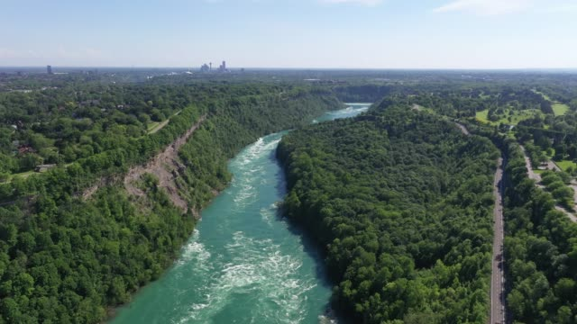 c3-9 aerial upper whirlpool trails and niagara river view, niagara falls, ontario, canada - niagara falls city new york state stock videos & royalty-free footage