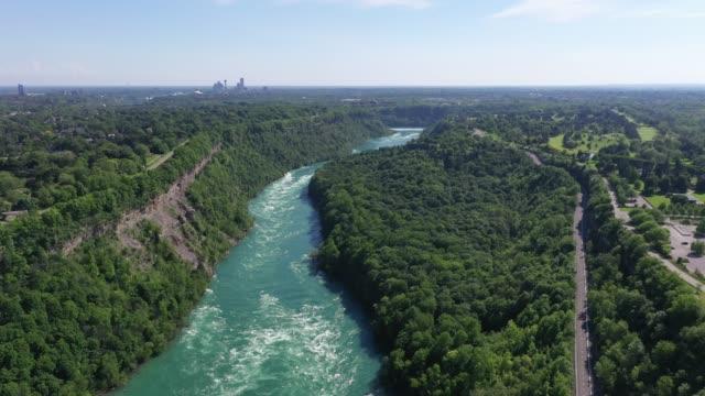 c4-9 aerial upper whirlpool trails and niagara river view, niagara falls, ontario, canada - niagara falls city new york state stock videos & royalty-free footage