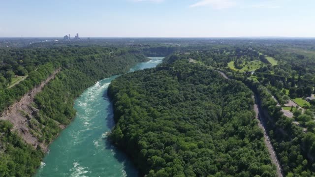 c6-9 aerial upper whirlpool trails and niagara river view, niagara falls, ontario, canada - river niagara stock videos & royalty-free footage