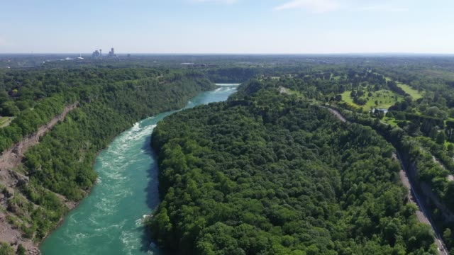 c7-9 aerial upper whirlpool trails and niagara river view, niagara falls, ontario, canada - river niagara stock videos & royalty-free footage
