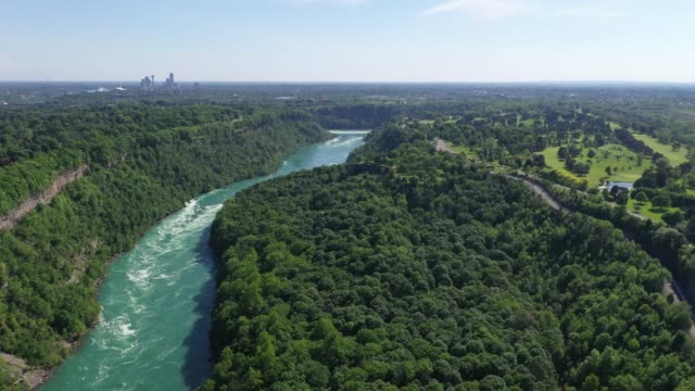 c8-9 aerial upper whirlpool trails and niagara river view, niagara falls, ontario, canada - river niagara stock videos & royalty-free footage