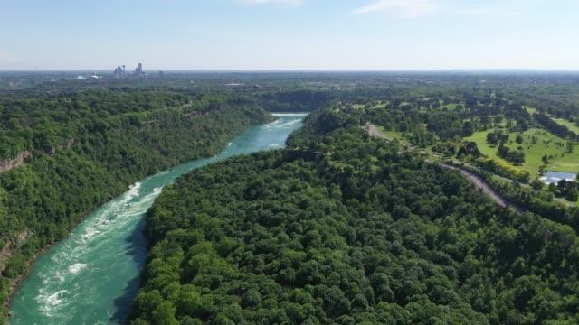 c9-9 aerial upper whirlpool trails and niagara river view, niagara falls, ontario, canada - niagara falls city new york state stock videos & royalty-free footage