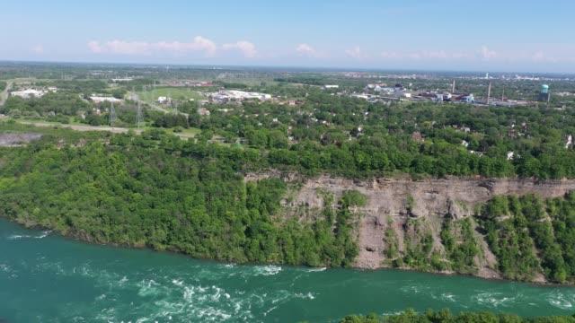 d3-3 aerial upper whirlpool trails and niagara river view, niagara falls, ontario, canada - niagara falls city new york state stock videos & royalty-free footage