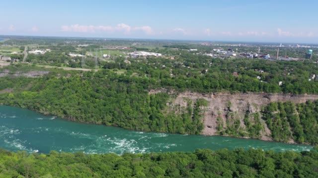 e1-6 aerial upper whirlpool trails and niagara river view, niagara falls, ontario, canada - river niagara stock videos & royalty-free footage