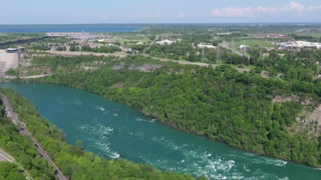 e3-6 aerial upper whirlpool trails and niagara river view, niagara falls, ontario, canada - niagara falls city new york state stock videos & royalty-free footage
