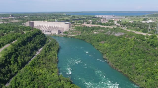 e4-6 aerial upper whirlpool trails and niagara river view, niagara falls, ontario, canada - niagara falls city new york state stock videos & royalty-free footage