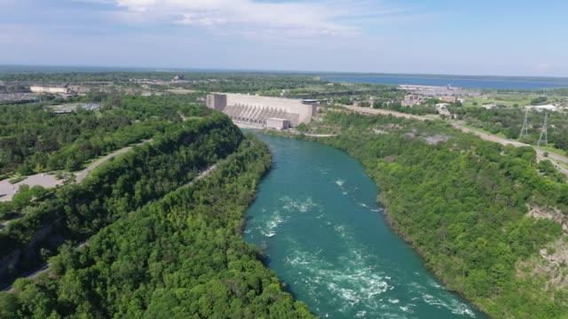 e5-6 aerial upper whirlpool trails and niagara river view, niagara falls, ontario, canada - niagara falls city new york state stock videos & royalty-free footage
