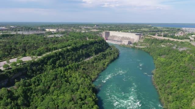 e6-6 aerial upper whirlpool trails and niagara river view, niagara falls, ontario, canada - niagara falls city new york state stock videos & royalty-free footage