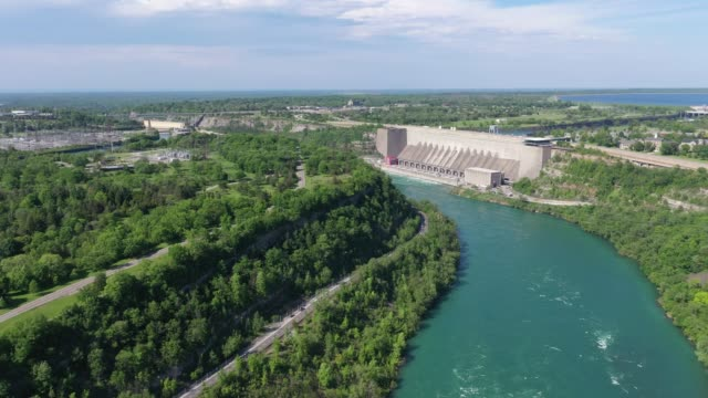 f5-5 aerial upper whirlpool trails and niagara river view, niagara falls, ontario, canada - niagara falls city new york state stock videos & royalty-free footage