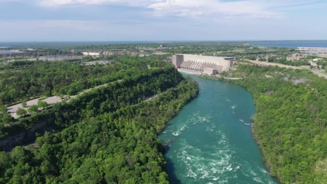 f1-5 aerial upper whirlpool trails and niagara river view, niagara falls, ontario, canada - river niagara stock videos & royalty-free footage