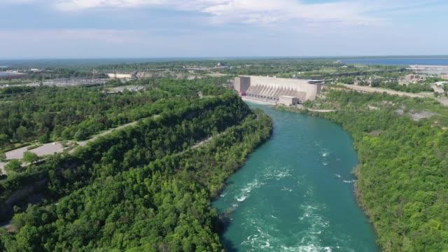 f2-5 aerial upper whirlpool trails and niagara river view, niagara falls, ontario, canada - niagara falls city new york state stock videos & royalty-free footage