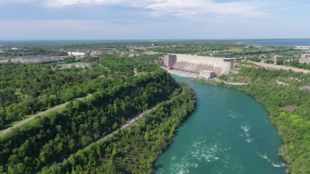 f4-5 aerial upper whirlpool trails and niagara river view, niagara falls, ontario, canada - niagara falls city new york state stock videos & royalty-free footage