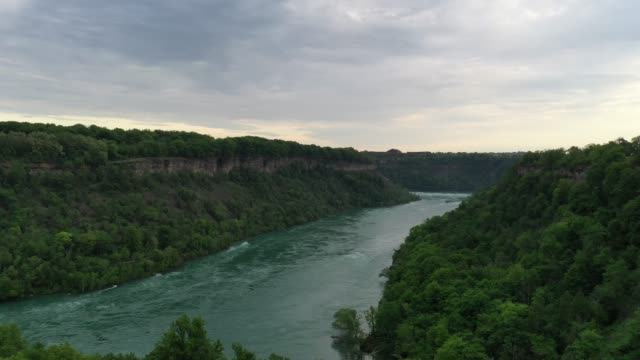 aerial upper whirlpool trails and niagara river view, niagara falls, ontario, canada - niagara falls city new york state stock videos & royalty-free footage