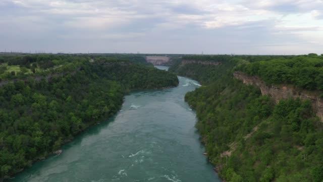 aerial upper whirlpool trails and niagara river view, niagara falls, ontario, canada - niagara falls city new york state stock videos & royalty-free footage