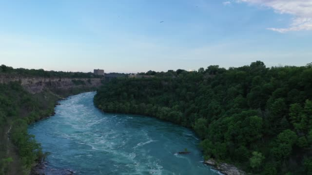 aerial upper whirlpool trails and niagara river view, niagara falls, ontario, canada - river niagara stock videos & royalty-free footage