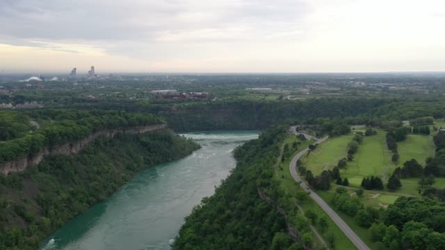 aerial upper whirlpool trails and niagara river view, niagara falls, ontario, canada - niagara falls stock videos & royalty-free footage