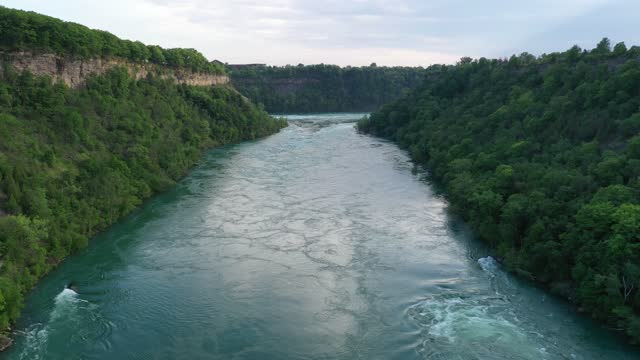 aerial upper whirlpool trails and niagara river view, niagara falls, ontario, canada - flowing water stock videos & royalty-free footage