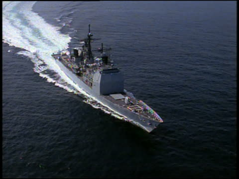 stockvideo's en b-roll-footage met aerial us navy ship in water / gulf of mexico - amerikaanse zeemacht