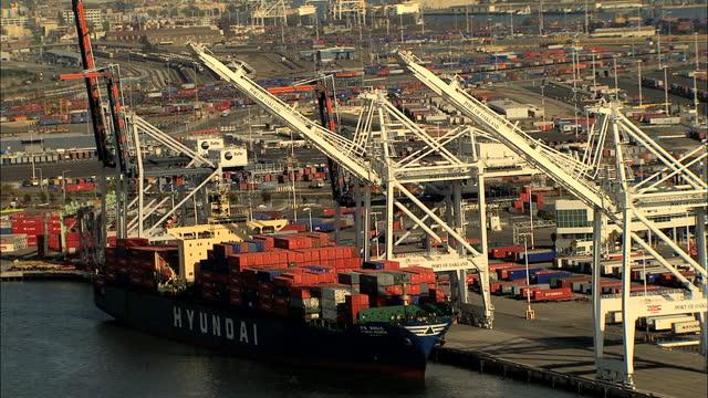 aerial usa california docks oakland port san francisco canal - oakland california stock videos & royalty-free footage