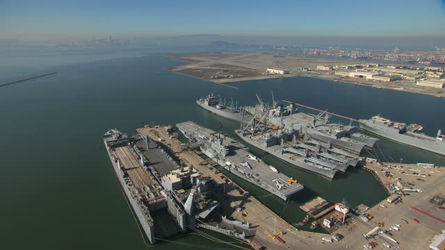 aerial uss hornet museum alameda point san francisco usa - northern california stock videos & royalty-free footage