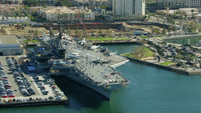 aerial uss midway aircraft carrier museum san diego - san diego stock videos & royalty-free footage