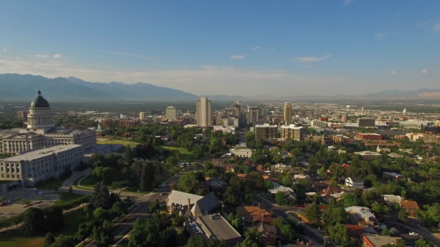 aerial utah salt lake city - utah stock videos & royalty-free footage