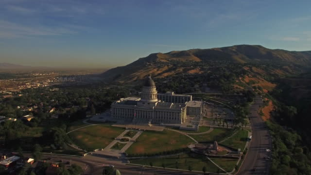 aerial utah salt lake city - mormonism stock videos & royalty-free footage