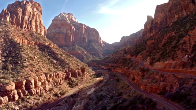 aerial utah zion national park - canyon stock videos & royalty-free footage