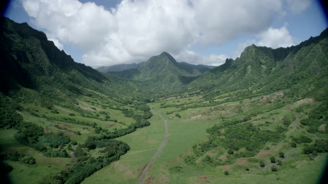aerial valley, kauai, hawaii - pacific islands stock videos & royalty-free footage