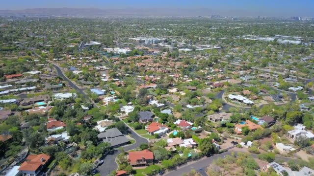 aerial: vast land area of scottsdale arizona - arizona stock videos & royalty-free footage