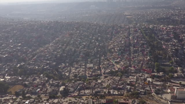 Aerial, vast Mexico City skyline