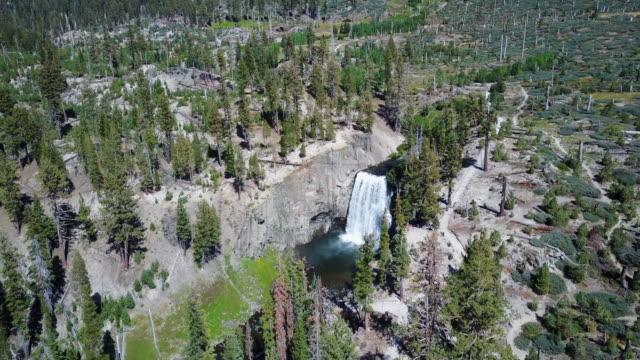 aerial, vast waterfall in california - mammoth lakes video stock e b–roll